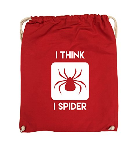 Comedy Bags - I THINK I SPIDER - Turnbeutel - 37x46cm - Farbe: Schwarz / Silber Rot / Weiss