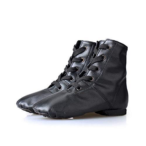 p Jazz Stiefel, Tanzschuhe Professionelle Weiche Unterseite Moderne Tanzschuhe Verschleißfeste Schuhe Für Frauen Mädchen (Color : Black-PU, Size : 38) ()