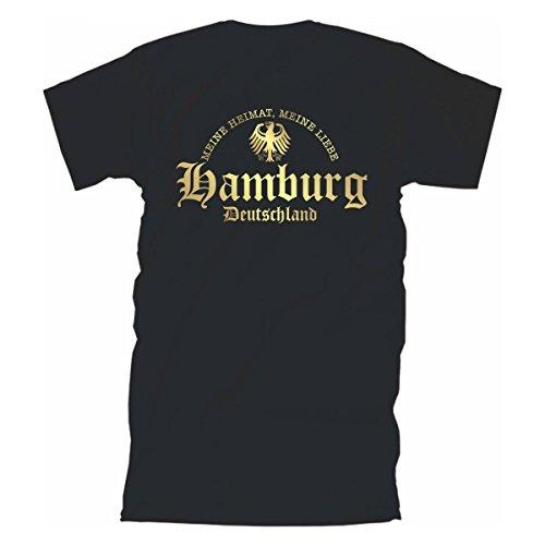 T-Shirt Hamburg meine Heimat meine Liebe Städteshirt heimatverbunden patriotisch stolz cooles Fanshirt Baumwolle große Größen S-5XL (SFU08-12a) Mehrfarbig