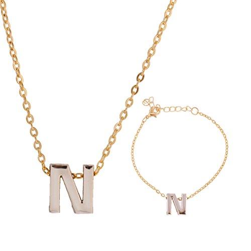 Bracelet & Collier Mode Chic avec Lettre Alphabet N