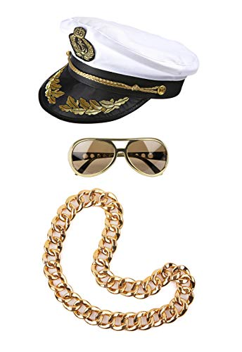 ® Party Set Mallorca Goldstrand Outfit 2019 Kapitän Mütze Goldkette Brille