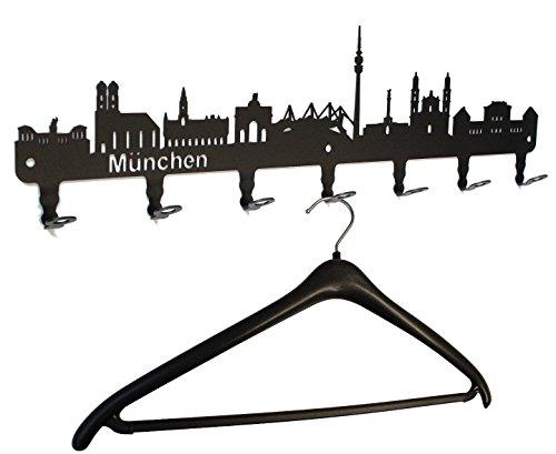 Wandgarderobe München Skyline - Bayern Flurgarderobe 58 cm - Kleiderhaken, Hakenleiste, Garderobeneiste, Garderobenhalter, Garderobe - Metall, schwarz