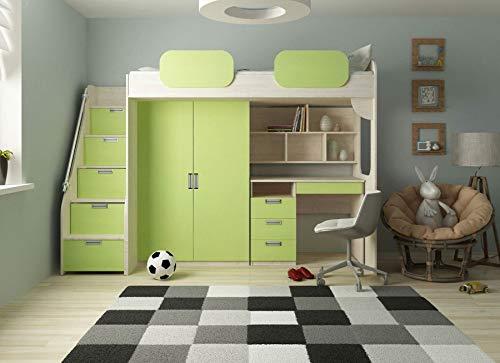 Hochbett Geko Farbe Grün (Kinder-hochbett Mit Treppe)