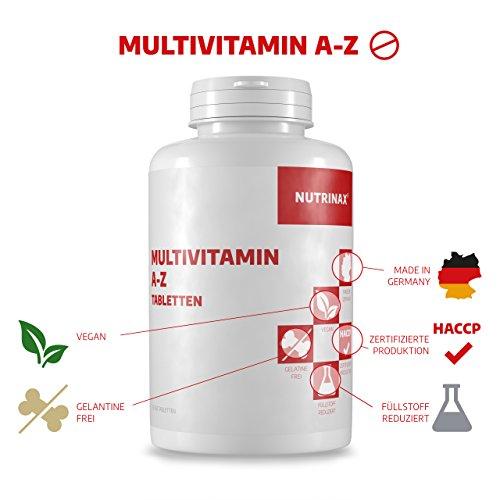 Multivitamin A-Z Tabletten – 365 Tabletten hochdosiert Jahrespackung – vegan – Nahrungsergänzungsmittel Made in Germany