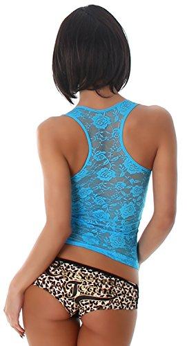 B & x top pour femme avec broderie en filet uni & décorés Turquoise - Turquoise