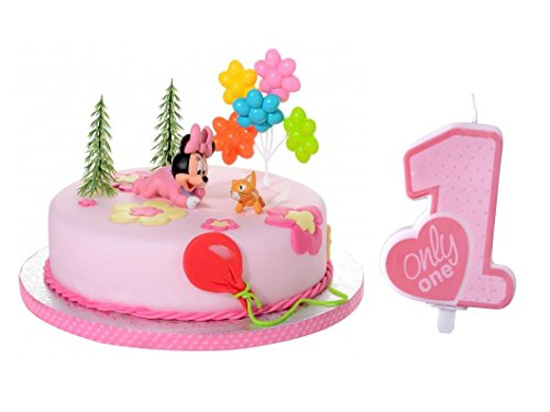 (Tortendeko Set 1.Geburtstag Minnie Mouse Baby 6 teiligTortenaufleger 1 Geburtstag Kindergeburtstag Kuchen Deko)