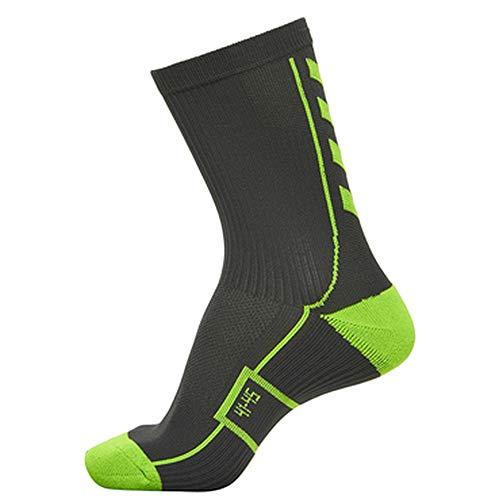 hummel Herren Court Indoor Sock Low Strümpfe, Asphalt/Green Lime, 10 (36-40)