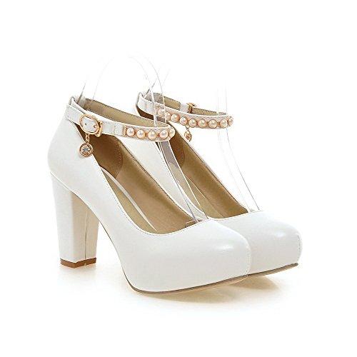 AllhqFashion Femme Pu Cuir Couleur Unie à Talon Haut Rond Boucle Chaussures Légeres Blanc