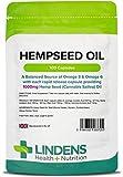 Lindens Hanfsamenöl 1000 mg Kapseln | 100 Verpackung | Eine ausgewogene Quelle von Omega 3 & Omega 6. Jede Kapsel setzt 1000 mg Hanfsamen-(Cannabis Sativa)-Öl sehr schnell frei