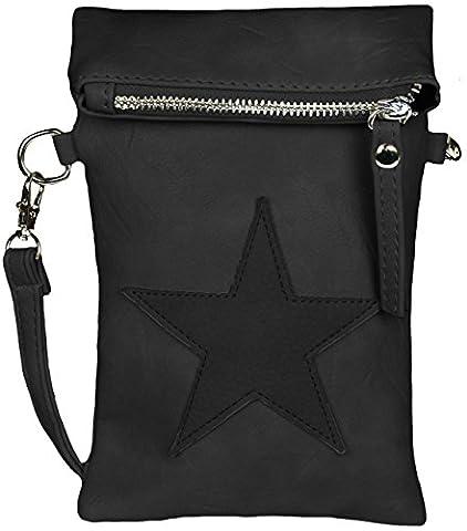 Mevina Damen kleine Stern Clutch Leder-Optik Tasche Umhängetasche Schultertasche Schwarz A1247