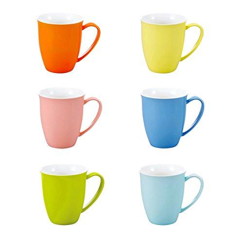 Panbado, 6-tlg. Set Porzellan Tassen, 310ml Farbig Becher Set, Kaffeetasse, Milch Kaffee Becher, Teetasse, Mug