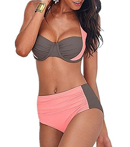 YAANCUN Donne Cinturino Triangolo Push up Reggiseni Bendare Beachwear Due Pezzi Cut Swimwear Bikini Set XL