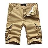 MIRRAY Kurze Hosen Shorts Herren Jeans Stretch Sommer Reiner Baumwolle Multi-Pocket Overalls Shorts Fashion Pant Khaki