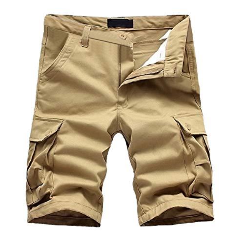 EUZeo Herren Baumwolle Multi-Pocket Einfarbig Pants Casual Bermudashorts Shorts Mode Hose Tarnhose Anglerhose Freizeithose Outdoorhose Boardshorts