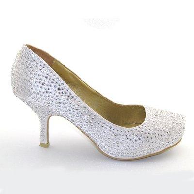 ESSEX GLAM LADIES SATIN DIAMANTE WOMENS KITTEN MID PLATFORM BRIDAL WEDDING PROM PARTY SHOES SIZE 3-8 (UK 3/EU 36, IVORY SATIN)