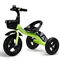 BABYGAMK Children Toddler Tricycle Children Tricycle Bicycle 2-3-6 Years Old Car Bike Baby Carriage Trike Kids 3 Wheels (Color : Green , Size : Onesize )