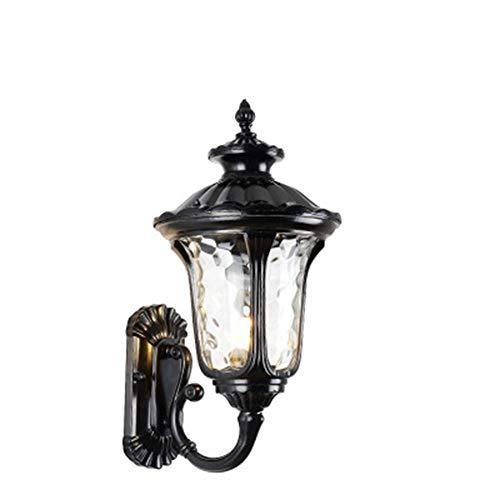 The only good quality Dekoration Wall Wash Lampe im Freien Retro, E27 Wandleuchte wasserdicht Aluminium Glas Vintage Spot Licht Garten Hinterhof Garage Villa (Farbe : Black, Size : 28 * 50 * 23cm) -