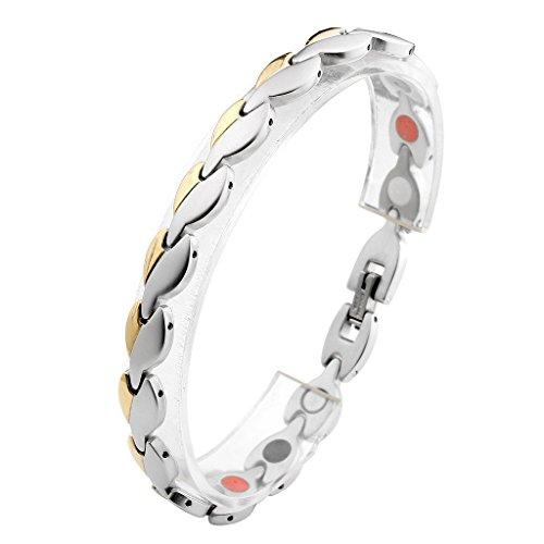JOVIVI Damen Magnetarmband Edelstahl Poliert Gebuerstet Blatt Magnetisch Armreif Magnete Armband Armrief,Gold+Silber