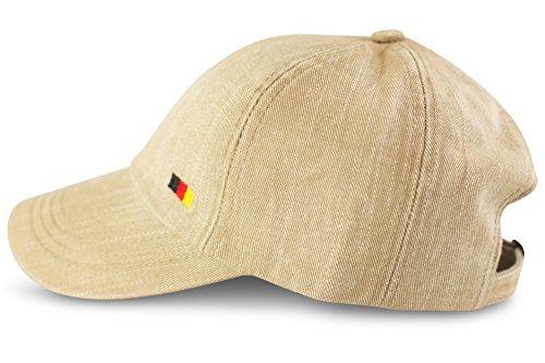 FashionCHIMP Baseballcap im Used-Look aus 100% Baumwolle mit Deutschland-Fahnen Stickerei, Denim-Cap (Beige) Vintage Washed Mesh
