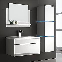 Home Deluxe Badmöbel-Set Wangerooge - Weiß, inkl. Waschbecken und komplettem Zubehör