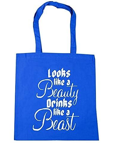 HippoWarehouse Looks like a beauty drinks like a beast Tote Shopping Gym Beach Bag 42cm x38cm, 10 litres