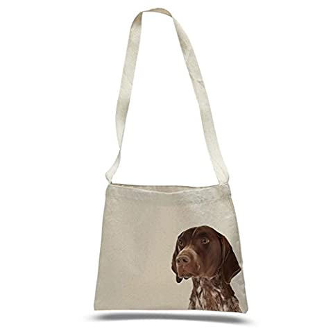 German Shorthair Pointer Dog Portrait Design Extra Large Eco Friendly Cotton Messenger Bag