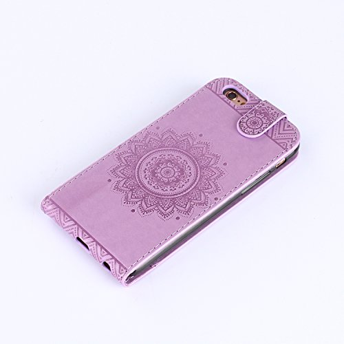 EMAXELERS Rouge Coque Etui pour iPhone 6 6S,iPhone 6 6S Wallet Leather Flip Etui Protective Cover Coque Case,iPhone 6 6S Coque Portefeuille Cuir Etui Flip Housse,iPhone 6 6S Coque Fille,iPhone 6 6S Co Flower 4