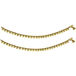 BeBold Wedding Gold Brass Plain Fashion Fancy Anklet Payal for Girls Women