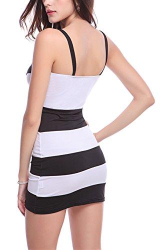 Monissy Femme Mini Robe Sans Manches Rayure Couleurs Mélangées Elingue Comfortable Sexy Blanc