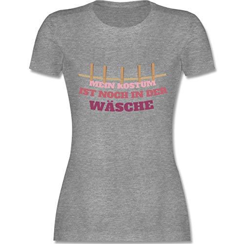 Karneval & Fasching - Mein Kostüm ist noch in der Wäsche Wäscheleine rot - S - Grau meliert - L191 - Damen T-Shirt Rundhals