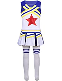 1351cd611 dPois Disfraces de Animadora Fútbol Tenis Baloncesto Niñas Chicas Traje de  Porrista Camiseta sin Mangas +Falda…