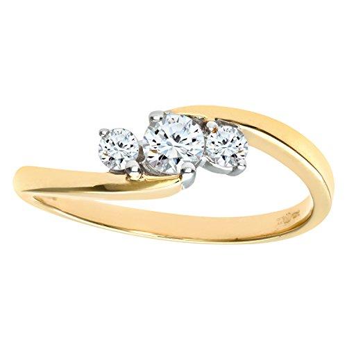 Naava Anillo para Mujer de Oro Blanco 9K con Diamantes Talla 9.5