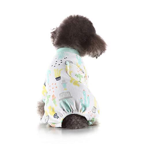 Feinny Pyjama pour Petit Chien adorables Coton Salopette Pjs Chiot Vêtements Chauds de Couchage avec Pantalon Chien Chat 4 Jambes Combinaison Pyjama pour Toutes Les Saisons (L,Menthe Verte
