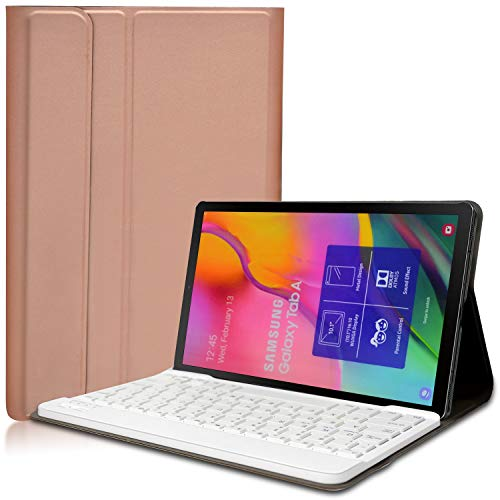 KILISON Samsung Galaxy Tab A T515/T510 10.1 Tastatur Hülle - [QWERTY Layout] PU Leder Tasche- Abnehmbarer Wireless Keybord Case für Samsung Galaxy Tab A T515/T510 10.1 Zoll,Rose Gold