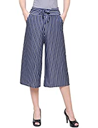 DAMEN MODE Women White Base Striped Capri Culottes …