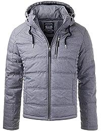 Sublevel Herren Winter-Jacke Übergangs Kapuze Gesteppt Zipper Blue Grey  H5273 b2e59c7020