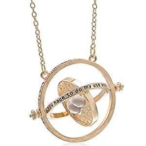 H&H UK Time Turner Necklace Wizardry Falcoa Horcrux Hourglass Pendant In Velvet Pouch by H & H UK