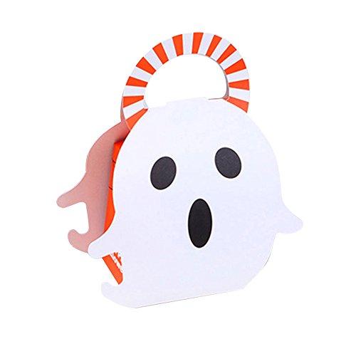 LIDEBLUE Halloween-Box - 20 Stück Cartoon-Kubis Süßigkeiten-Box, tragbar, kreativer Geist, Kürbis Süßigkeiten, Dessert-Box, Halloween, Party-Dekoration, Tasche 3.15 * 2.75 * 3.9inches Ghost