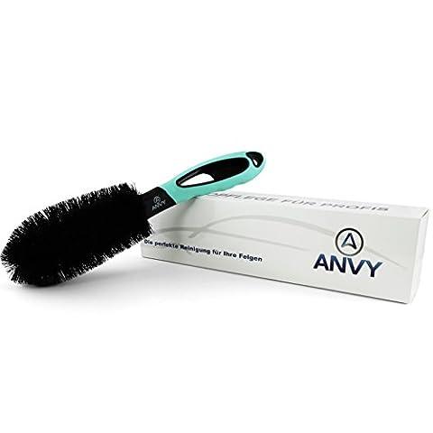 ANVY Professionelle Felgenbürste für eine sichere und effiziente Reinigung von Stahl-und Alufelgen. Mit Anti-Kratz Technology, ein Tool für Ihr Auto, Motorrad oder (16 Speichen Chromfelge)
