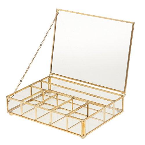 MagiDeal Glas Terrarium Box Sukkulente Pflanzgefäß Deko mit Deckel, auch als Schmuckschatulle Schmuckkästchen - 20 x 15 x 5 cm