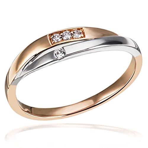 Goldmaid Damen-Ring 2-teilig 375 Bicolor Diamant (0.04 ct) weiß Brillantschliff Gr. 56 (17.8)-Pa R6757RW56 Verlobungsring  Diamantring (Rote Diamant-ring Weiss-gold)