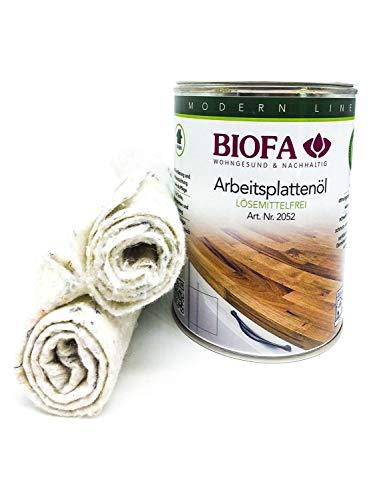 Biofa Arbeitsplattenöl 2052   1 Liter   Set mit 2 Ölsaugtüchern   NEU