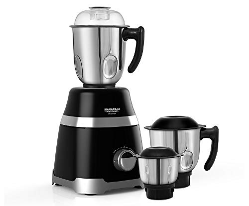 Maharaja Whiteline Mixer Grinder Ultramax Hd 1000 Watt with 3 Stainless Steel Jar with 5 Year Motor Warranty (Black)