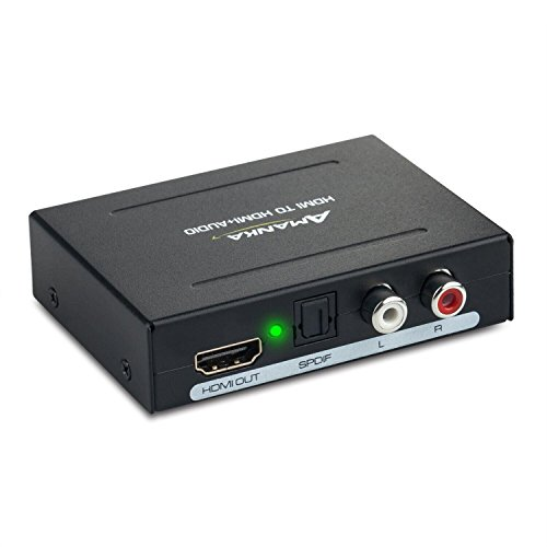 AMANKA Digitaler Audio Konverter HDMI zu HDMI SPDIF/Toslink RCA L/R Audio Konverter Adapter Ausgang mit 5V / 1A DC Netzteil für Phone TV Blu-ray Player,Schwarz Hdmi Digital Audio Video Kabel