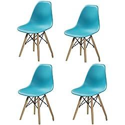 Silla de diseño nórdico con patas de madera y asiento en policarbonato azul 4 unidades