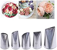 FantasyDay 5 piece Stainless Steel Rose Flower Piping Tips Piping Nozzles