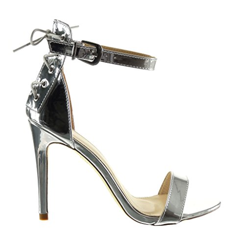 Angkorly Damen Schuhe Pumpe Sandalen - Stiletto - Sexy - Spitze - String Tanga Stiletto High Heel 10.5 cm Silber