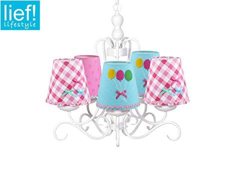 Kinder Kronleuchter / Lüster weiß, bunten Stoffschirmchen in verschiedenen Designs, Lief! 12031Set