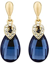 Jewels Galaxy Limited Edition Sparkling AAA Emerald Crystal Magnificent Design Droplet Earrings For Women/Girls