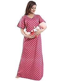 19832852a3 TUCUTE® Womens Cotton Fabric Beautiful Print  Feeding/Maternity/Pregnancy/Nighty/Night Gown/Nightwear…